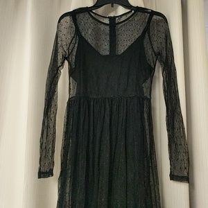 Midi black polka dot mesh dress